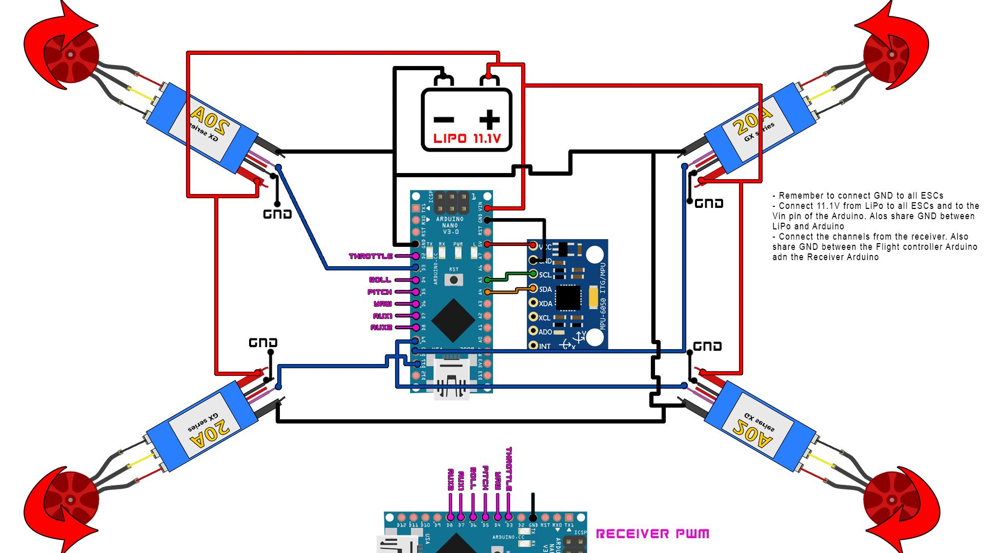 Arduino  Scheda di controllo volo per Drone con Multiwii